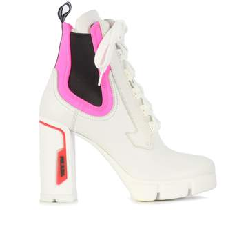 Prada High Heel Laced Booties With Fluo Details