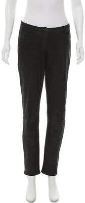 Theory Lamb Leather Mid-Rise Straight-Leg Jeans
