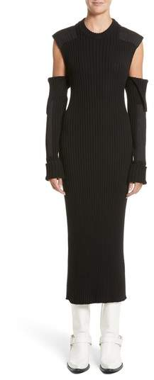 CALVIN KLEIN 205W39NYC Rib Knit Cold Shoulder Dress