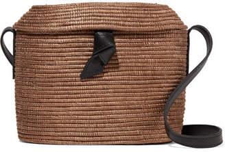 Cesta Collective - Crossbody Leather-trimmed Woven Sisal Shoulder Bag - Camel