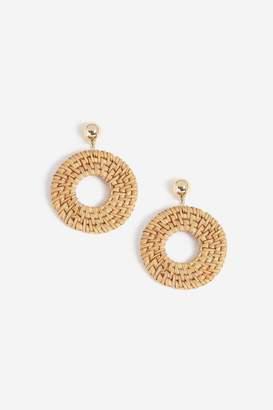 Topshop Raffia Hoop Drop Earrings