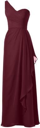 Alicepub One Strap Bridesmaid Dress Chiffon Long Evening Party Prom Gown Maxi