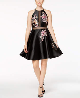 Xscape Evenings Embroidered Illusion Fit & Flare Dress