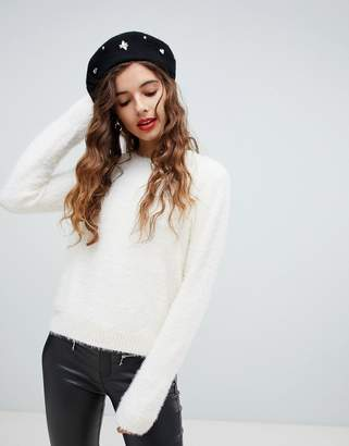Bershka eyelash round neck jumper
