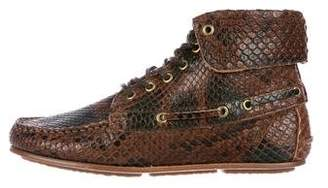 Jerome Dreyfuss Python Round-Toe Ankle Boots