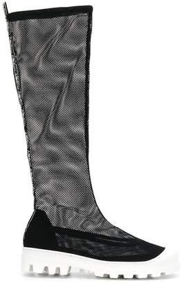 Grey Mer mesh knee boots