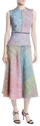 Escada Sleeveless Metallic Multi-Tweed Mid-Length Dress w/ Fringe Trim