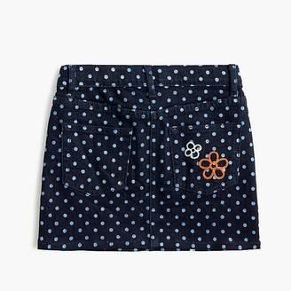 J.Crew Girls' polka-dotted denim skirt