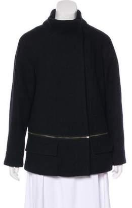 Vince Knit-Trimmed Wool Coat