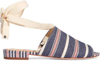 Sam Edelman - Tai Striped Woven Canvas Sandals - Blue $100 thestylecure.com