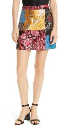 Alice + Olivia Riley Patchwork Miniskirt