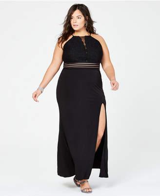 City Studios Trendy Plus Size Banded-Waist Slit Gown