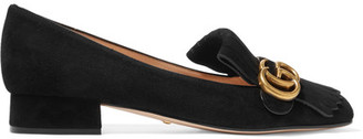 Gucci - Marmont Fringed Suede Loafers - Black $650 thestylecure.com