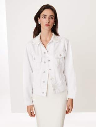 Oscar de la Renta Embroidered Denim Lucy Jacket