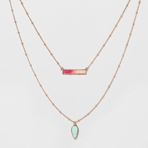 SUGARFIX by BaubleBar Druzy Layered Necklace - Pink