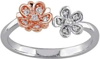 Laura Ashley Lifestyles Two Tone Sterling Silver 1/10 Carat T.W. Diamond Flower Ring