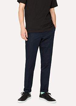 Paul Smith Men's Mid-Fit Navy Linen-Blend Chinos