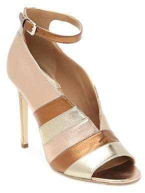 Laurence Dacade Women's Sianni Metallic Leather Stripe Ankle-Strap Sandals