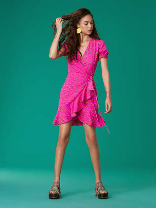 Diane von Furstenberg Short Sleeve Ruffle Wrap Dress