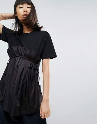 Asos T-Shirt With Contrast Ruffle Panel