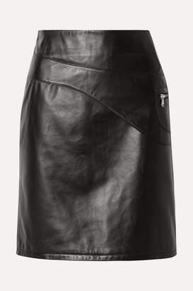 Sandy Liang Blossom Paneled Leather Skirt - Black
