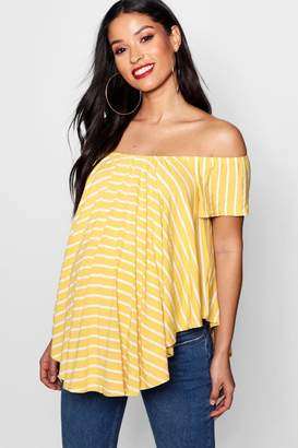 boohoo Maternity Off Shoulder Stripe Top