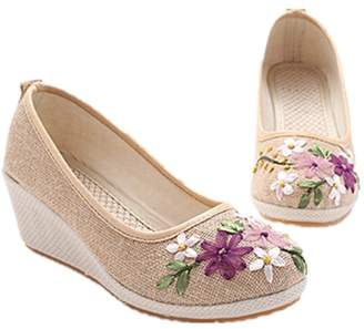 dfdaca3d081aa at Amazon Canada · Tianrui Crown Women and Ladies  Embroidery Flower Wedge  Shoes Sandals