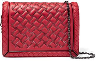 Bottega Veneta Montebello Mini Studded Intrecciato Leather Shoulder Bag - Red