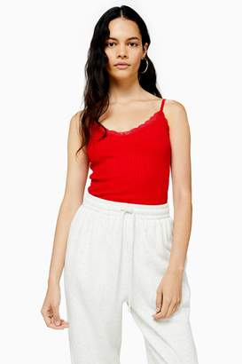 Topshop Womens Red Lace Ribbed Cami - Red
