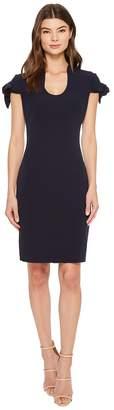 Badgley Mischka Tie Sleeve U-Neck Butter Crepe Dress Women's Dress