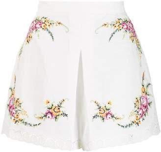 Zimmermann cross stitch flower shorts