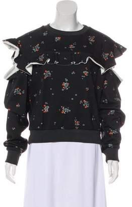 Philosophy di Alberta Ferretti Cold-Shoulder Floral Sweater