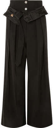Awake Folded Wool-blend Wide-leg Pants - Black