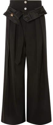 Awake Folded Wool-blend Wide-leg Pants - Black