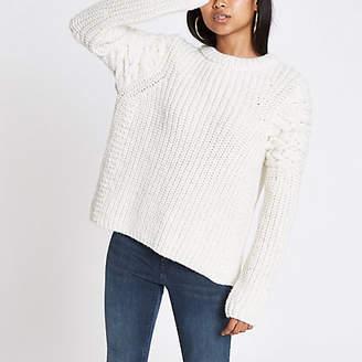 River Island Petite cream cable knit crew neck sweater