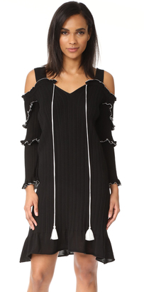 Derek Lam 10 Crosby Cutout Shoulder Ruffle Dress $595 thestylecure.com