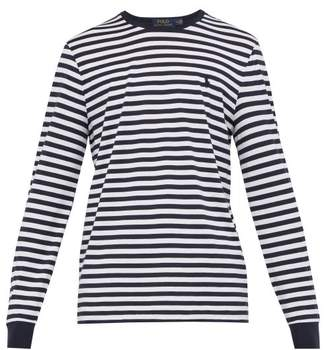 eaccf9b3 Free Delivery! FREEDEL at MATCHESFASHION.COM · Polo Ralph Lauren Striped  Logo Embroidered Cotton Jersey T Shirt - Mens - Navy White