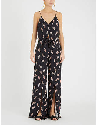 Vix Seychelles Nora knotted-waist feather-print jersey jumpsuit