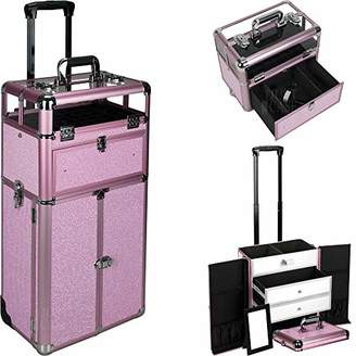 Justcase I31066 2 In 1 Professional Rolling Trolley Wheel Makeup Artist Cosmetic Nail Case Organizer Storage Extendable Trays Drawers Dividers