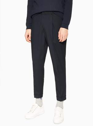 Topman Navy Tapered Trousers