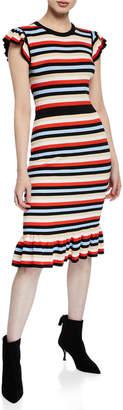 Shoshanna Fornilla Crewneck Cap-Sleeve Multi-Striped Midi Dress