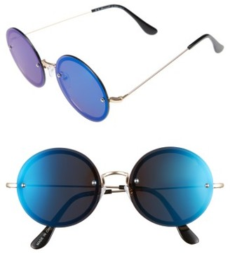 Women's A.j. Morgan 56Mm Rimless Round Sunglasses - Gold / Blue Mirror $24 thestylecure.com
