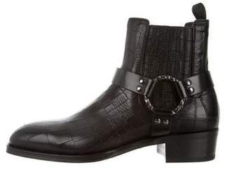 Alexander McQueen Embossed Leather Square-Toe Ankle Boots w/ Tags