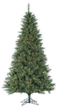 Fraser Hill Farms Pre-Lit Canyon Pine Artificial Christmas Tree - White - 6.5 Ft.