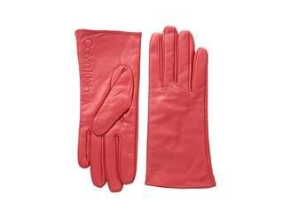 Calvin Klein Leather/Suede Gloves w/ Debossed Logo