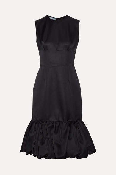 Prada - Fluted Wool And Silk-blend Satin Dress - Black