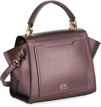 Zac Posen Eartha Metallic Leather Top-Handle Crossbody Bag, Dark Purple