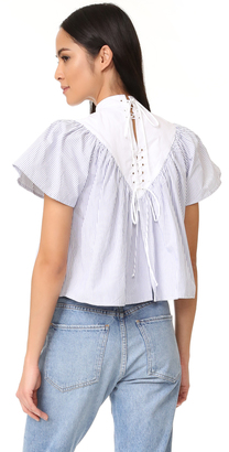 Sea Lace Up Striped Cotton Blouse $285 thestylecure.com