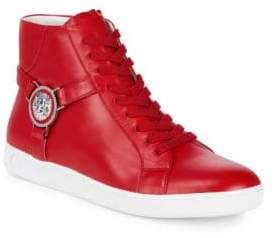 Versus By Versace Lace-Up Leather High-Top Sneakers