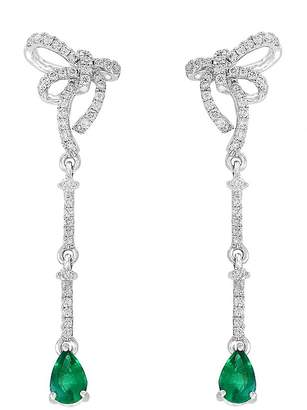 Bloomingdale's Emerald & Diamond Bow Drop Earrings in 14K White Gold - 100% Exclusive
